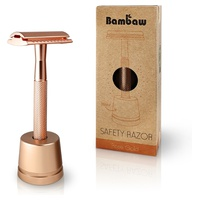 Rose gold stainless steel razor with holder