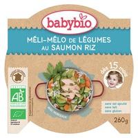 Prato Menu Mistura de Legumes com Arroz e Salmão Bio (a partir de 15 meses)