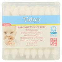 Bastoncillos de seguridad de algodón biológico ultra suaves 56 piezas de Tidoo