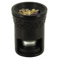 Difusor de Resina en Piedra Negra con friso de flores