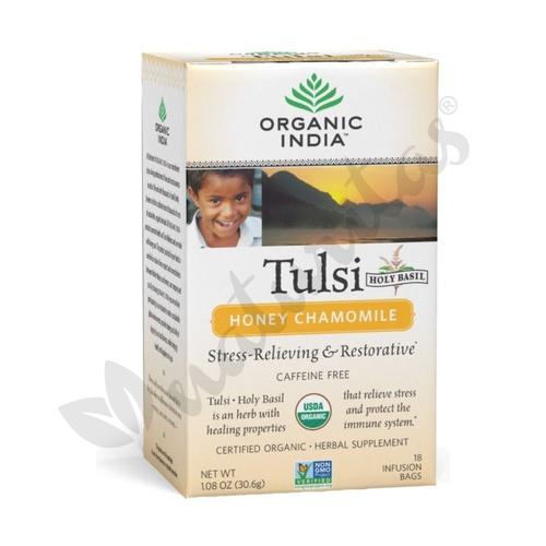 Tulsi Manzanilla y Miel 18 Bolsitas de Organic India