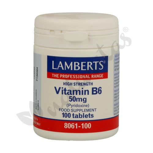 Vitamina B6 100 comprimidos 50 mg de Lamberts