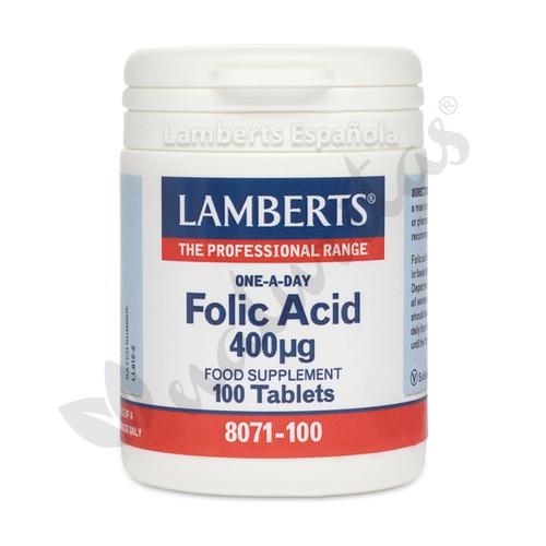 Ácido Folico 100 cápsulas de 400 Mcg de Lamberts