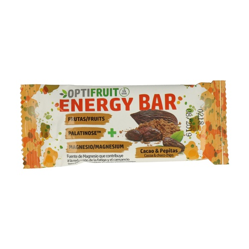 Optifruit Barrita Energética + MG + Palatinose (Sabor Cacao + Chips Choco)
