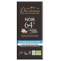 Tableta de chocolate negro 64% y azúcar de coco