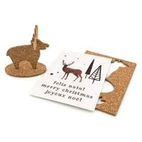 Carte postale de Noël en liège - Renne-Produits en papier à planter