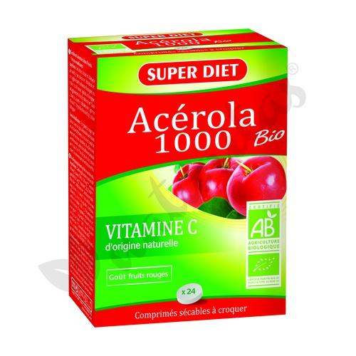 Acerola Bio 1000 (Masticables) 24 comprimidos de Super Diet