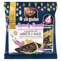Rice and corn bars with dark chocolate