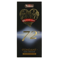 Chocolate Negro 72% Cacao Sin Azúcar