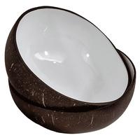 Bol en noix de coco laqué blanc