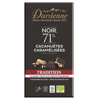 Tableta de chocolate negro con cacahuetes caramelizados 71% tradicional