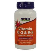 Vitamina D3 & K2 120 cápsulas de Now