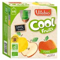 Botella de fruta fresca de manzana orgánica