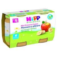 Organiczne słoiki z jabłkami i bananami