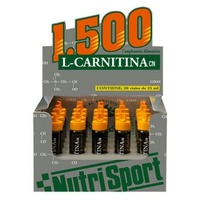 L Carnitina 1500 Fresa 20 ampollas de Nutrisport