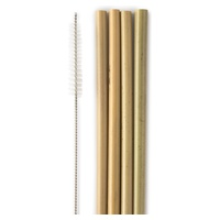 Słoma bambusowa ze szczotką do butelek