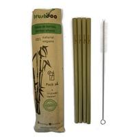 Pack 4 pajitas de bambú + limpiador