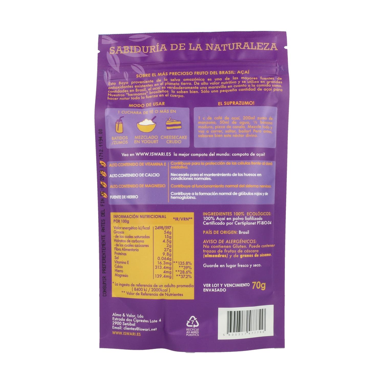 Comprar Acai Polvo Superfood Bio 70 G De Polvo Iswari Naturitas