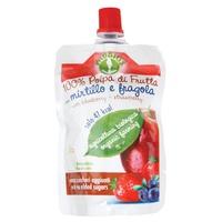 Beutel mit Apfel-, Heidelbeer- und Erdbeergeschmack