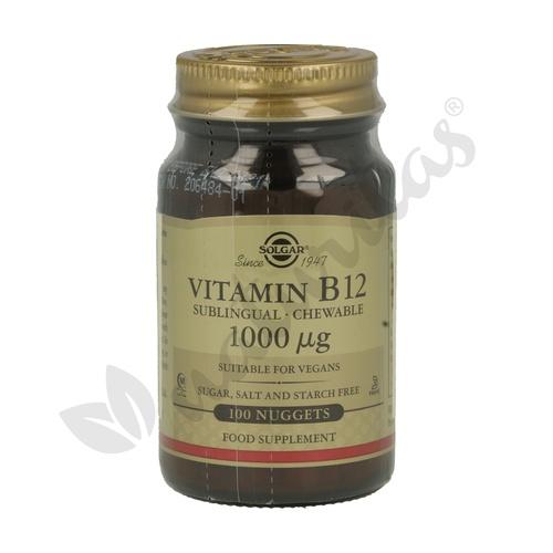 Vitamina B12 (Cianocobalamina) 100 comprimidos masticables de 1000 mcg de Solgar
