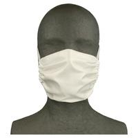 Biała maska z tkaniny wielokrotnego użytku