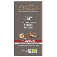 Tableta de chocolate con leche y cacahuetes salados