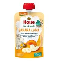 Purè di frutta: banana, mela, mango e albicocca