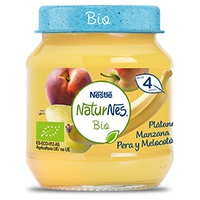 Puré Fruta Plátano, Manzana, Pera y Melocotón Bio