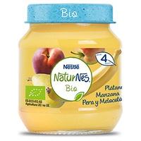 Nestlé Naturnes BIO Puré Fruta Plátano, Manzana, Pera y Melocotón 4m+