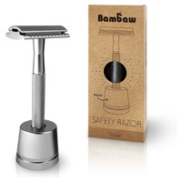 Silver stainless razor with holder
