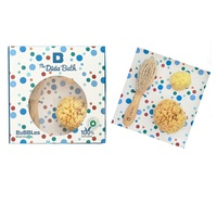 Pack Bubbles 2: 2 Esponjas Naturales 1 Grande 1 Pequeña, Cepillo de Madera