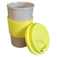 Vaso Ecofriendly de Fibra de Arroz con Antideslizante y Tapa de Silicona Amarillo con Orificio