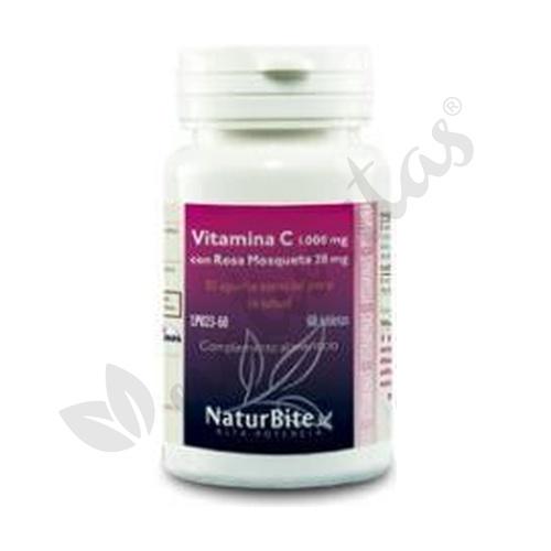 Vitamina C con Rosa Mosqueta 180 comprimidos 1000 mg y 20 mg de Naturbite