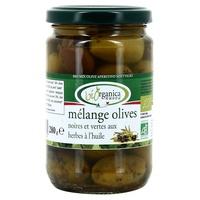 Mieszanka czarnych i zielonych oliwek w ekologicznym oleju ziołowym